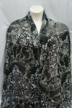 Style&Co. Shawl One Size Black Grey Graphite Damask Print Wrap 26x76  - $19.71