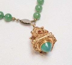 Antique Vintage Tribal Gold Poison Pendant 18K 22K w/ Green Stones tob - $1,979.99