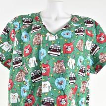 Scrubstar Womens Green Ugly Christmas Sweater Holiday Scrub Top