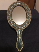 Vintage Bronze Brass Turquoice W/ Amber Stones Hand Held Ornate Vanitiy ... - €24,72 EUR