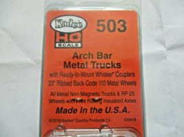 Kadee # 503 Arch Bar Metal Trucks With #148 Whisker Couplers 1 Pair HO Scale image 2
