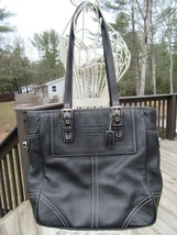 8L/COACH HANDBAG/BLACK LEATHER/MEDIUM/TOTE/SHOULDER/F0720-F11396! - $29.65