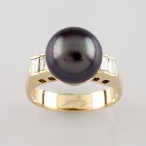 18K Or Jaune 9.5 mm Tahiti Perles Bague Diamant 0,25 Ct SIZE 4.5 - $356.40
