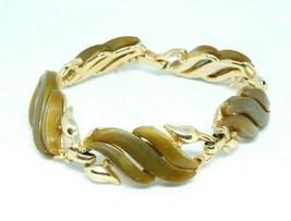 """Brown Thermoset Wave Modernist Gold Tone Bracelet Vintage 8"""" - $19.79"""
