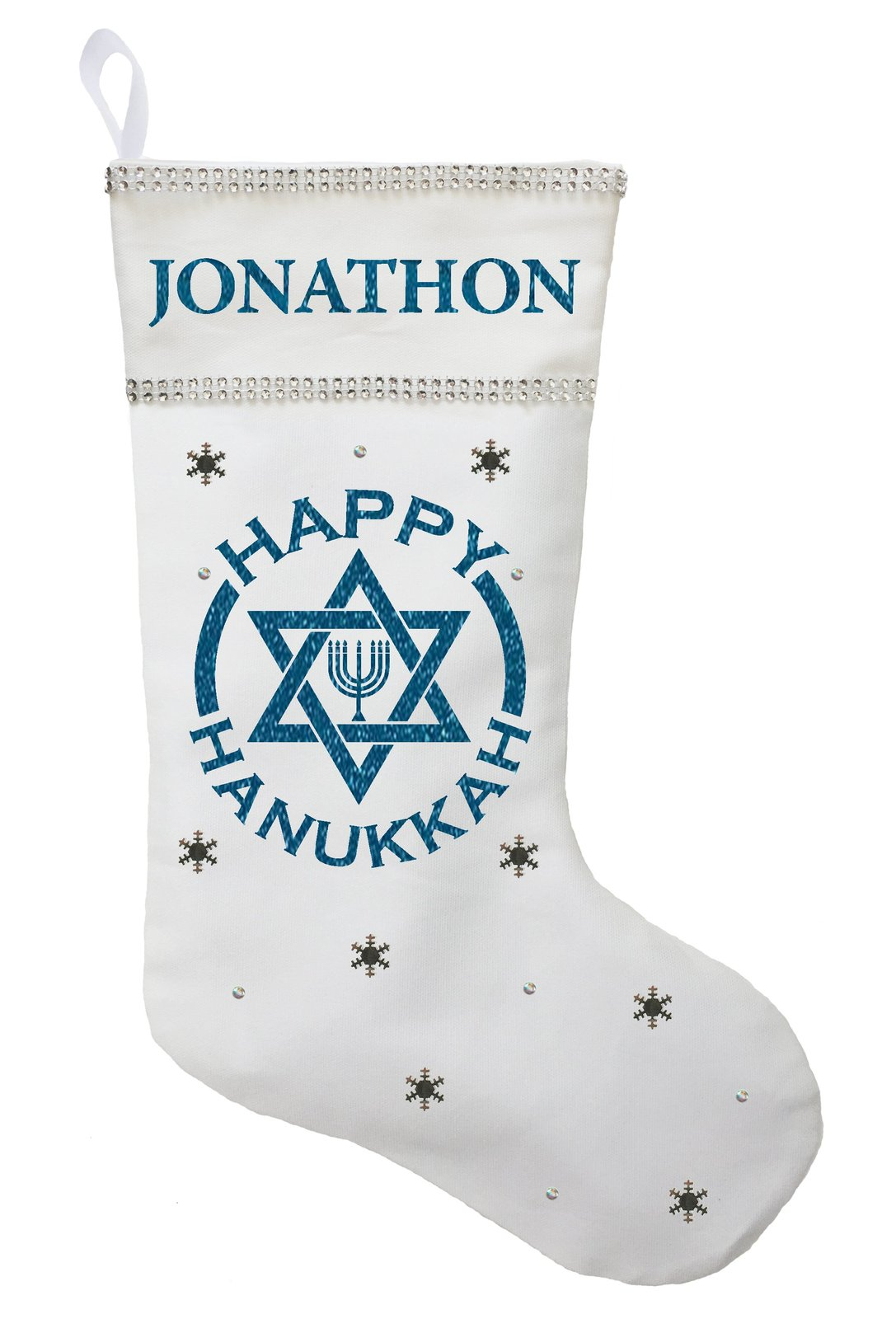 Happy Hanukkah Stocking - Personalized and Hand Made Hanukkah Stocking