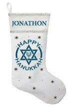 Happy Hanukkah Stocking - Personalized and Hand Made Hanukkah Stocking - $30.00