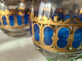 Vintage MCM 6pc CULVER Lowball Glasses in Cobalt and Gold image 1