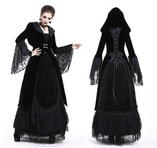 Black Velvet Victorian Gothic Hooded Bell Sleeved Goth Jacket Spring Fal... - $76.80
