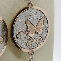 Silberohrringe 925 Rhodiniert Anhänger Perle Fischen mit Kristallen und Bogen image 3