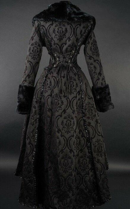 Black Evil Queen Brocade Gothic Victorian Winter Long Corset-Back Steampunk Coat