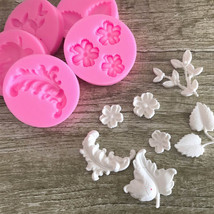 New Arrival Different Leaf shape Cake Mold 3D silicone Flower DIY Bakewa... - ₨558.80 INR