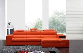 Polaris Mini Contemporary Orange Bonded Leather Sectional Sofa - €1.390,58 EUR