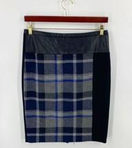 Calvin Klein Pencil Skirt Size 6 Black Blue Gray Plaid Faux Leather Back... - $23.76