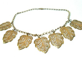 Antique Necklace Metal Filigree leaves chain link gold tone Victorian Vi... - $29.65