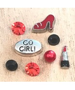8pc Go Girl Lipstick High Heel Red Crystal Floating Charms for Memory Lo... - $3.40