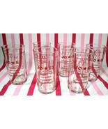 Mid Century Sam's / Jo * EL 6pc Red Graphic Souvenir Bar Glasses Reynosa... - $24.00