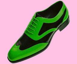 Black Green Multi Tone Brogues Toe Premium Leather Wing Tip Men Oxford Shoes - $139.99+