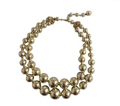 Vintage Coro Signed Choker Gold Tone Costume Jewelry Necklace Double Str... - $34.64