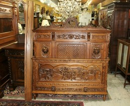 French Antique Carved Oak Brittany Full Size Bed With Nightstand | Bedro... - $2,576.00