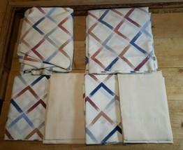 Vintage Cannon Monticello Full Sheet Set No Iron Geometric Stripes  - $28.91