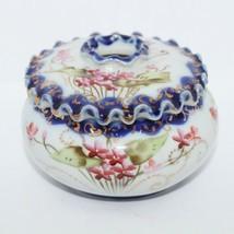 Nippon Porcelain Cobalt Blue Floral Gold Ruffled Hair Receiver Jar Lid Box - $62.99