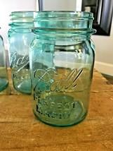 Vtg Antique Lot 4 Ball Perfect Mason Aqua Blue Pint Jars Farmhouse Glass Canning - $29.02