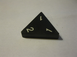 1985 Tri-ominoes Board Game Piece: Triangle # 1-1-2 - $1.00