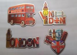 3D METALIC FRIDGE MAGNETS SET OF 4 LONDON ICONS SOUVENIR - $5.82