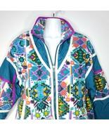 Vintage 90s East West Windbreaker Small Jacket Southwest Design Purple Teal - $63.32