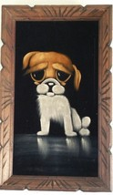 Black Velvet Painting Pity Puppy Vintage Wall Hanging Framed Dog Mexico - $24.99