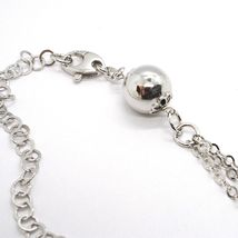 SILVER 925 NECKLACE, CHAIN ROLO' MULTIPLE STRINGS, DOUBLE DROP, FLOWER, SPHERE image 4