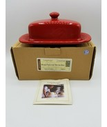 Longaberger Woven Traditions Butter Dish Tomato Red w Box 31707140 - $43.51
