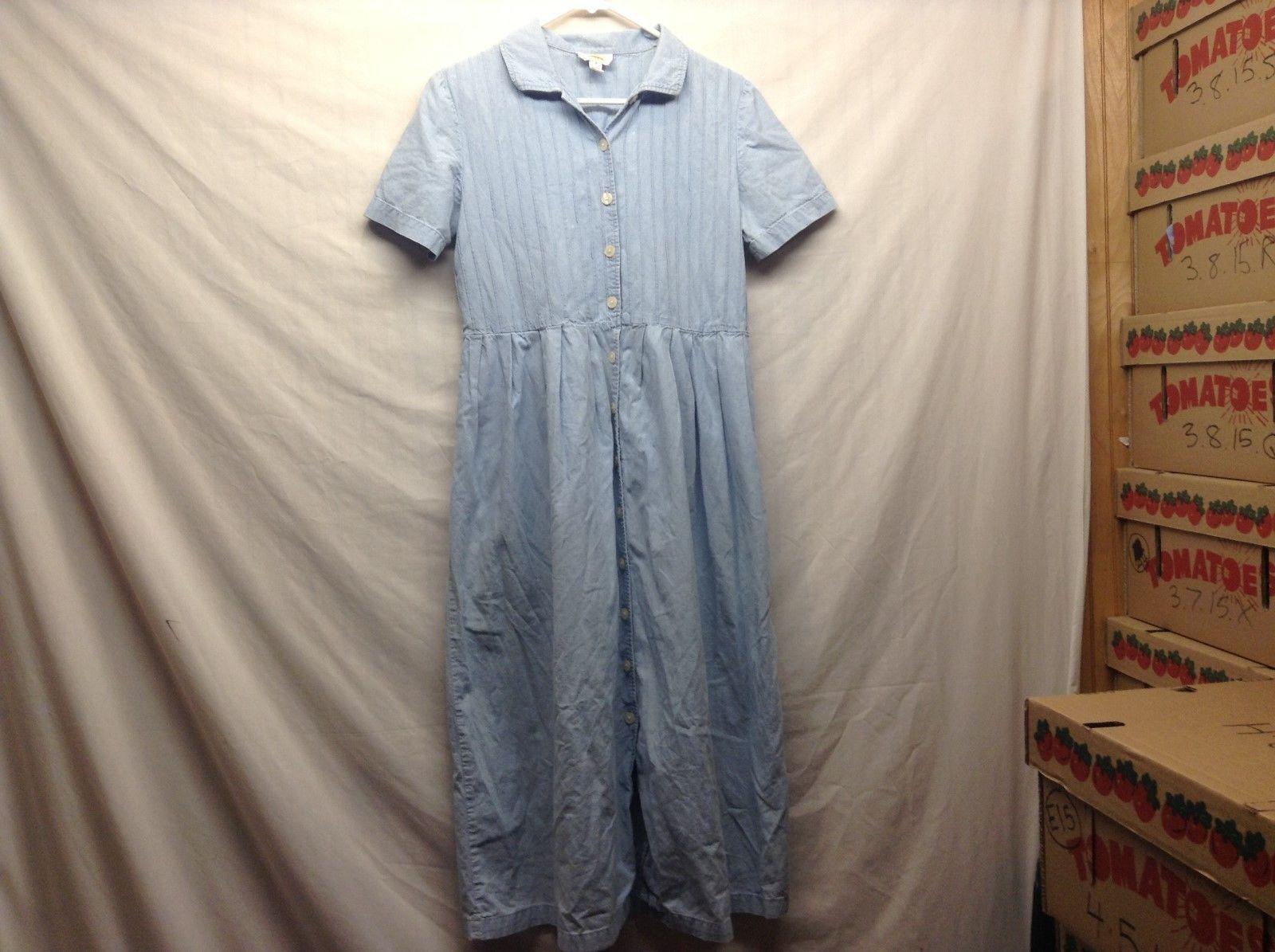 Talbots Light Blue Button Up Dress Sz 8