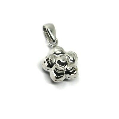 18K WHITE GOLD MINI ROUNDED FLOWER PENDANT 10mm DIAM. TWO FACES, SMOOTH & WORKED