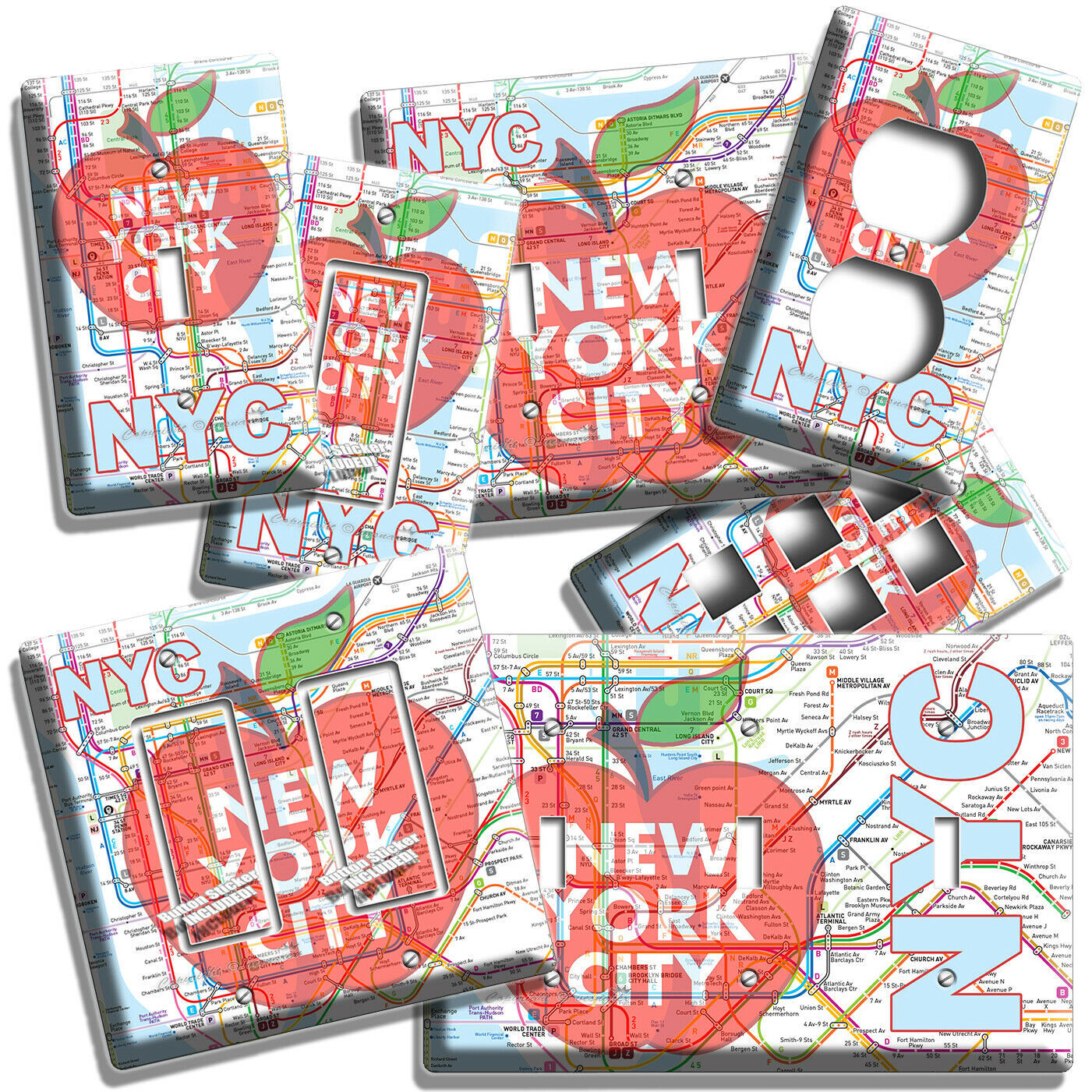NYC NEW YORK CITY BIG APPLE SUBWAY MAP LIGHT SWITCH OUTLES WALL PLATE ROOM DECOR