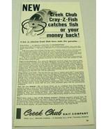 1963 Print Ad Creek Chub Cray-Z-Fish Fishing Lures Garrett,Indiana - $13.44