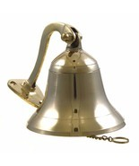 "Ship Small Bell 4"" Brass Wall Hanging Ring Polished Outdoor Nautical Dec... - $93.11"