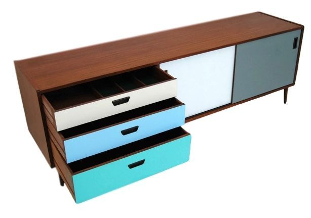 CUSTOM COLORS MID CENTURY MODERN CREDENZA, MEDIA CONSOLE OR STORAGE CABINET