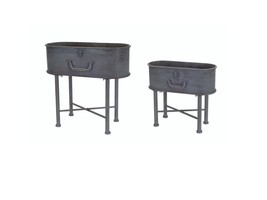 "Melrose 2 Antiqued Metal Suitcase Inspired Planters with Stands - 14"" - ... - $119.73 CAD"