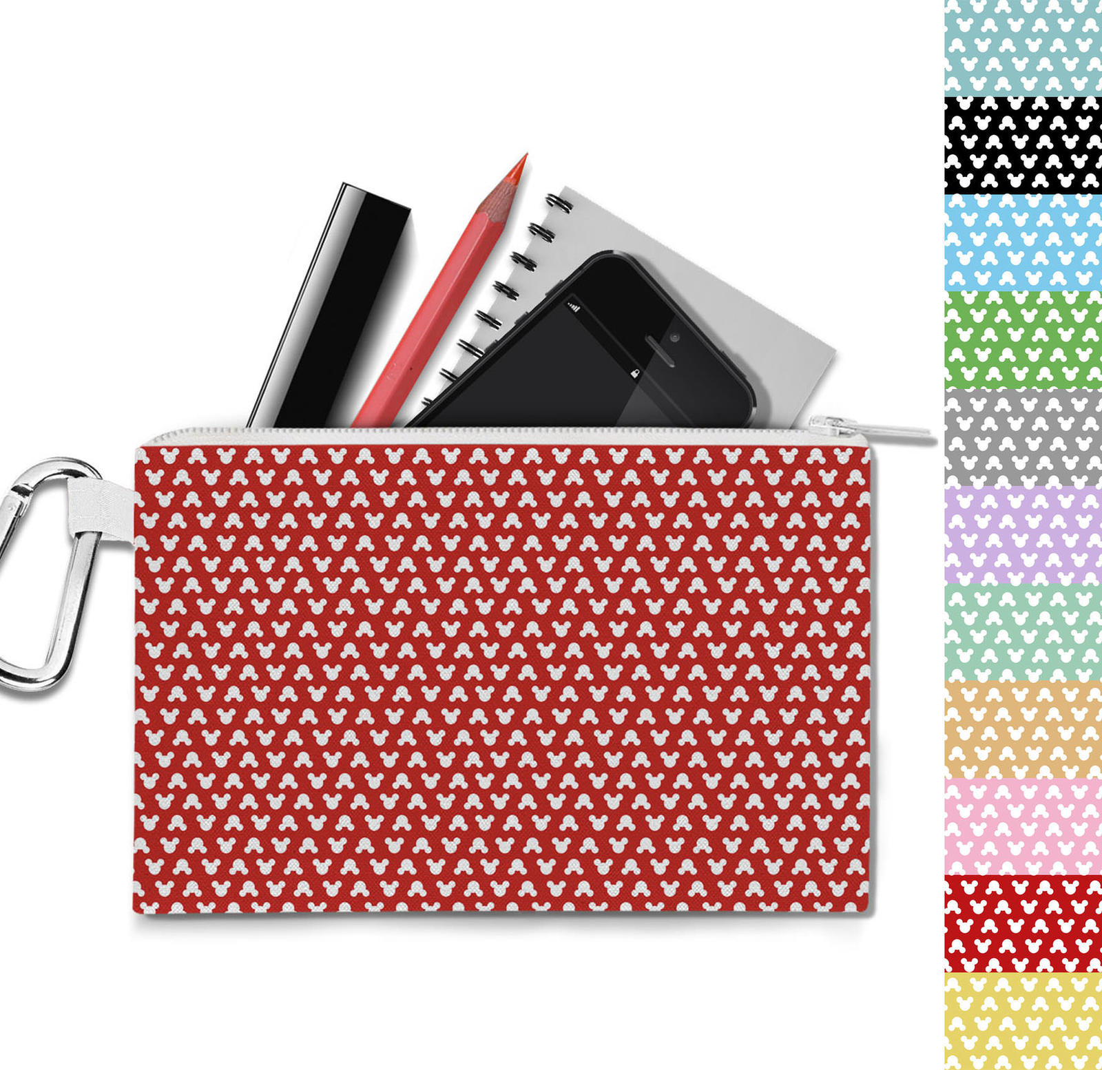 Mouse Ears Polka Dots Canvas Zip Pouch