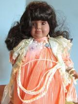 "Seymour Mann Connoisseur Collection doll; ""VIRGINIA""peach dress, 15"" COA  - $19.80"