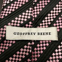 GEOFFREY BEENE BLACK Pink SQUARE BLOCKS Stripe SILK NECKTIE TIE Unique image 5