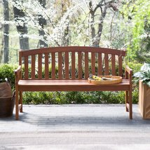 Curved Back 4-Ft Outdoor Garden Bench with Arm-Rests in Natural Wood Finish - $293.66