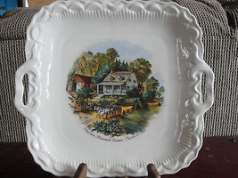 Currier & Ives collector plates, square with handles - $123.50
