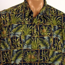 Cooke Street Honolulu Hawaiian Shirt Mens XL Black Pineapples Bamboo Frames - $23.36