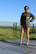 New French Air Force mechanics jacket boyfriend oversized army military ... - $25.00
