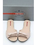 NIB Prada Nude Beige Patent Leather Bow Logo Slides Sandals New 5.5  35.5   - $245.00