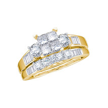 10k Yellow Gold Princess Diamond Bridal Wedding Engagement Ring Band Set Size 8 - $1,119.00