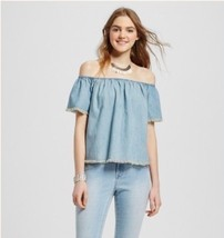 Women's Mossimo Blue Denim Cropped Off The Shoulder Frayed Trim Blouse S... - $8.90