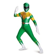 Disguise Green Power Rangers Cartoon Superhero Adult Men Halloween Costu... - $44.99+